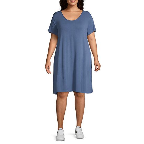 a.n.a Short Sleeve Cross Back Swing Dresses - Plus