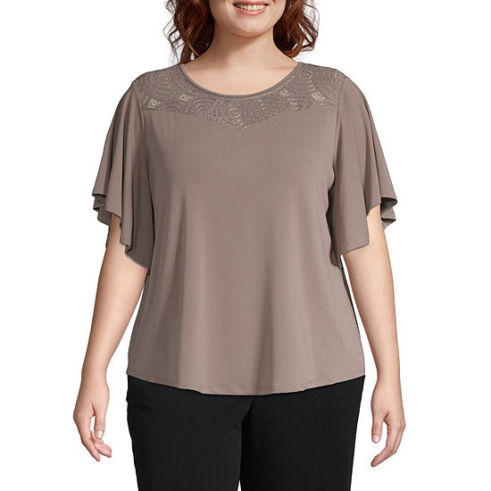 Worthington Womens Round Neck Short Sleeve Blouse - Plus