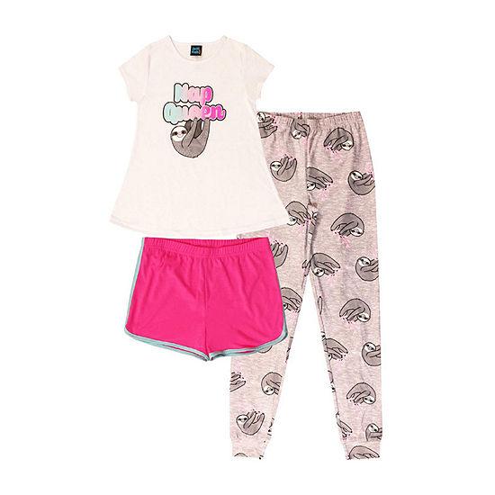 Jelli Fish Kids Sloth 3pc Pant Pajama Set - Girls
