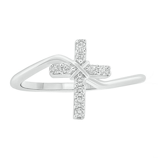 Womens 1/6 CT. T.W. Genuine White Diamond Sterling Silver Cocktail Ring