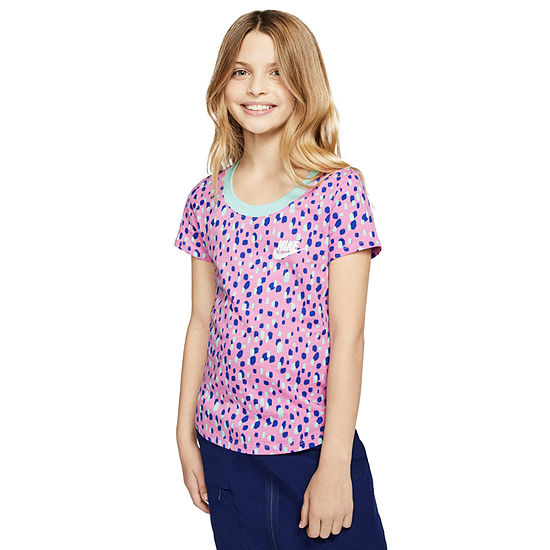 Nike Graphic Tee Big Girls Crew Neck Short Sleeve Graphic T-Shirt