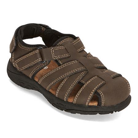 Okie Dokie Toddler Boys Lil Felix Adjustable Strap Flat Sandals. 9 Medium. Brown