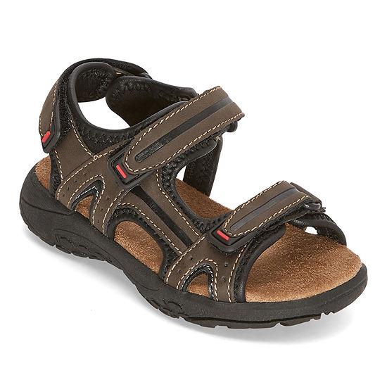 Okie Dokie Toddler Boys Lil Badger Adjustable Strap Flat Sandals