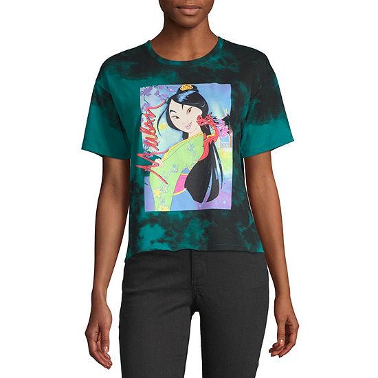 Juniors Womens Round Neck Short Sleeve Mulan Graphic T-Shirt