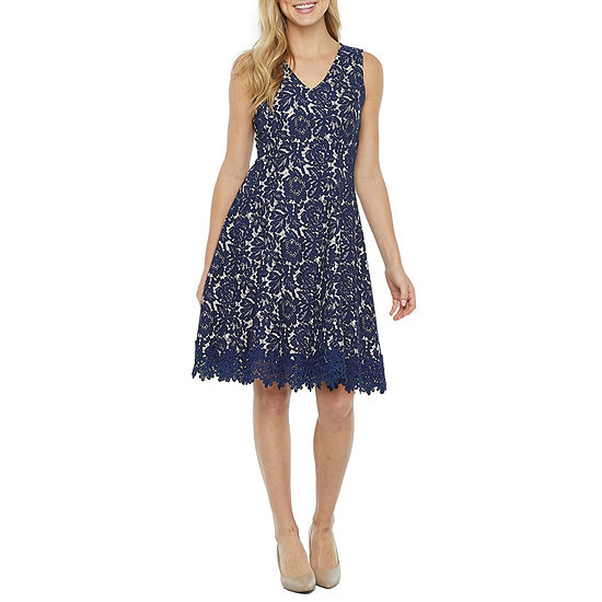 DR Collection Sleeveless Floral Bonded Lace Fit & Flare Dress