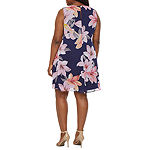 Jessica Howard-Plus Sleeveless Floral Swing Dresses