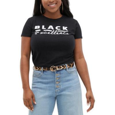 Juniors Black History Month Womens Round Neck Short Sleeve Graphic T-Shirt
