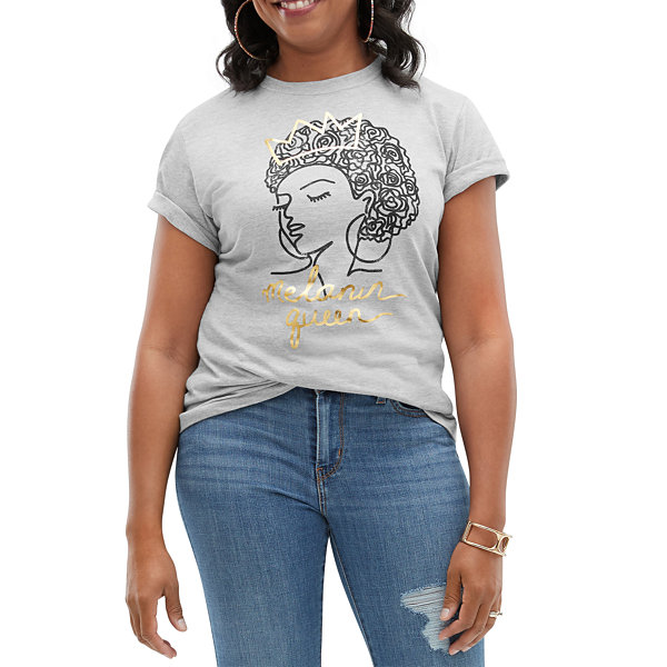 Juniors Black History Month Womens Round Neck Short Sleeve Graphic T-Shirt