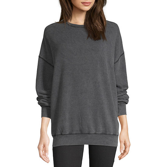 Flirtitude Womens Crew Neck Long Sleeve Pullover Sweatshirt - Juniors