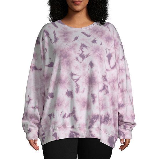 Flirtitude-Juniors Plus Womens Crew Neck Long Sleeve Tie Dye Pullover Sweater
