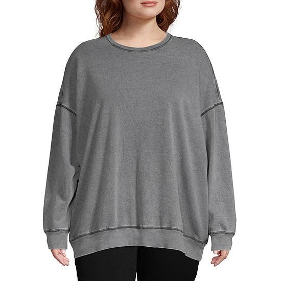 Flirtitude-Juniors Plus Womens Crew Neck Long Sleeve Pullover Sweatshirt