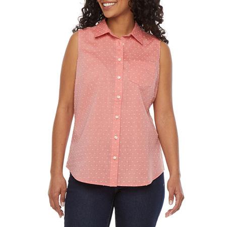 St. John's Bay Womens Sleeveless Regular Fit Button-Down Shirt, Petite Medium , Orange