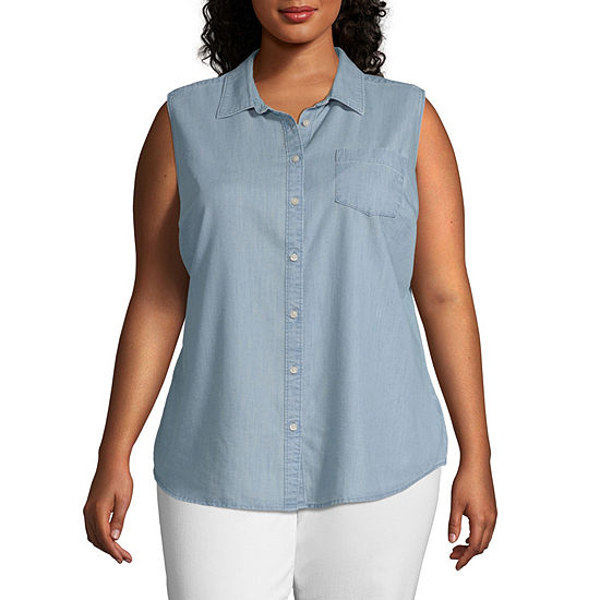 St. John's Bay-Plus Womens Sleeveless Regular Fit Button-Down Shirt