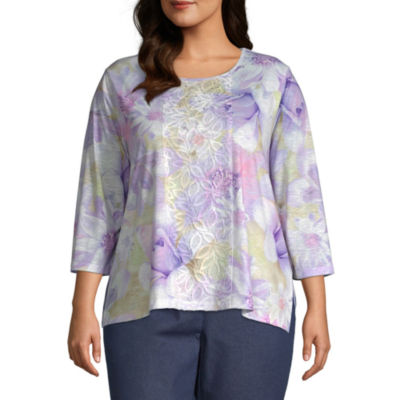 Alfred Dunner Plus Nantucket-Womens Round Neck 3/4 Sleeve T-Shirt
