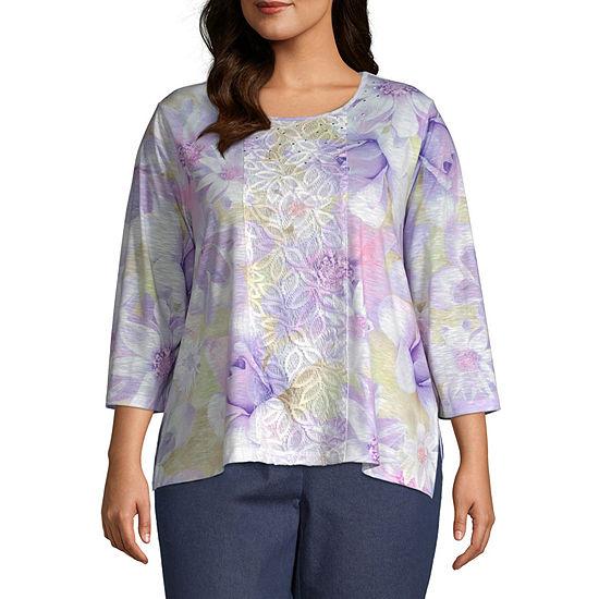 Alfred Dunner Plus Nantucket-Womens Round Neck 3/4 Sleeve T-Shirt