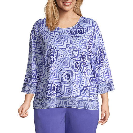 Alfred Dunner Plus Costa Rica-Womens Round Neck 3/4 Sleeve T-Shirt