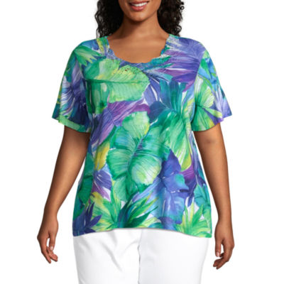 Alfred Dunner Plus Costa Rica-Womens Round Neck Short Sleeve T-Shirt