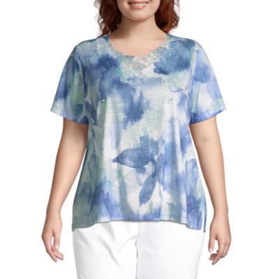 Alfred Dunner Plus Captiva-Womens Round Neck Short Sleeve T-Shirt