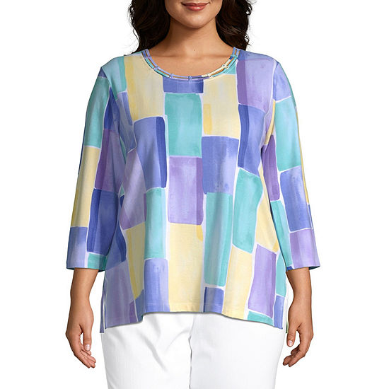 Alfred Dunner Plus Captiva-Womens Round Neck 3/4 Sleeve T-Shirt