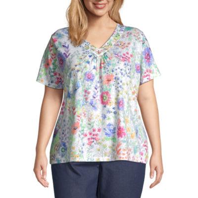 Alfred Dunner Plus Captiva-Womens V Neck Short Sleeve T-Shirt