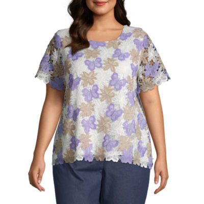 Alfred Dunner Butterfly Lace Top - Plus