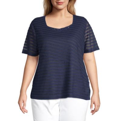 Alfred Dunner Plus Classics-Womens Asymmetrical Neck Short Sleeve T-Shirt