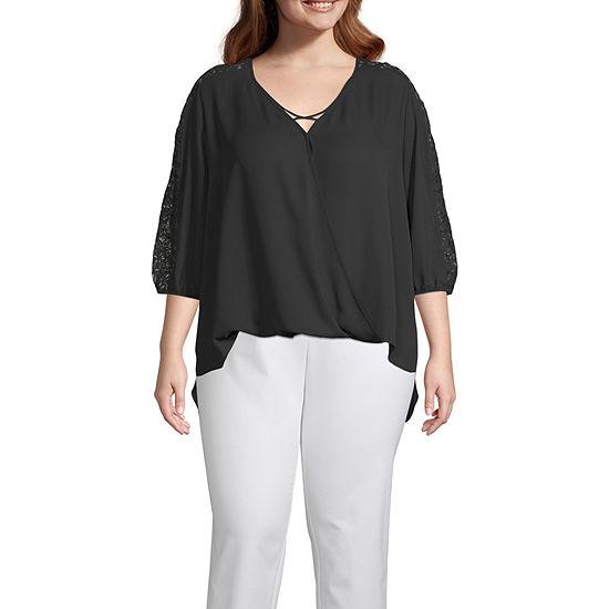Bold Elements Womens Lace Inset Cross Front Blouse - Plus