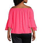 Bold Elements Womens Off the Shoulder Flutter Sleeve Blouse - Plus