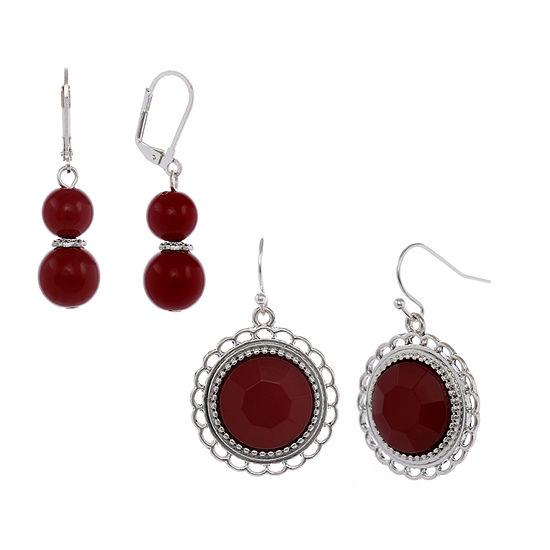 Mixit Red 2 Pair Drop Earrings