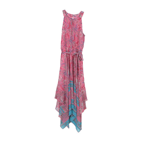 Lilt Big Girls Sleeveless Bordered Maxi Dress