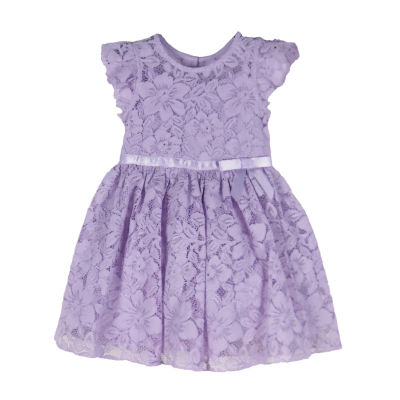 Lilt Little & Big Girls Short Sleeve Flutter Sleeve Party Dress
