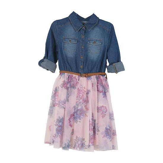 Lilt Little & Big Girls 3/4 Sleeve Roll Tab Sleeve Shirt Dress