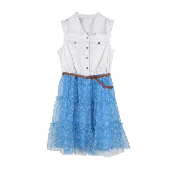 Lilt Little & Big Girls Sleeveless Shirt Dress