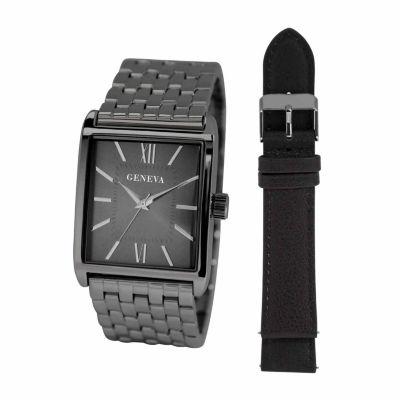 Geneva Mens Black 2-pc. Watch Boxed Set-Jry1805gugubk