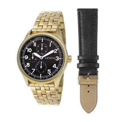 Geneva Mens Black 2-pc. Watch Boxed Set-Jry1808gdbk
