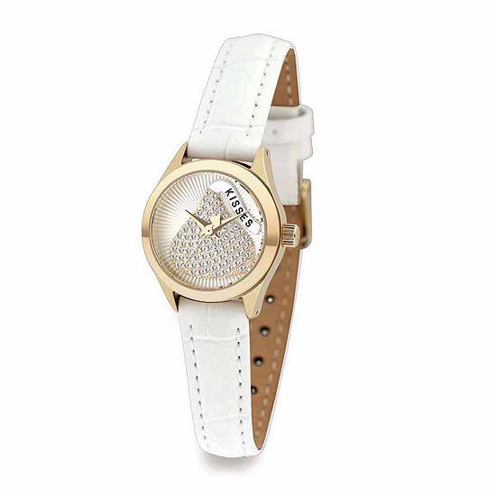 Hershey Kisses Womens White Leather Strap Watch-Ks003gdwt