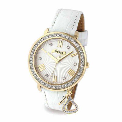 Hershey Kisses Womens White Strap Watch-Ks013gdwt