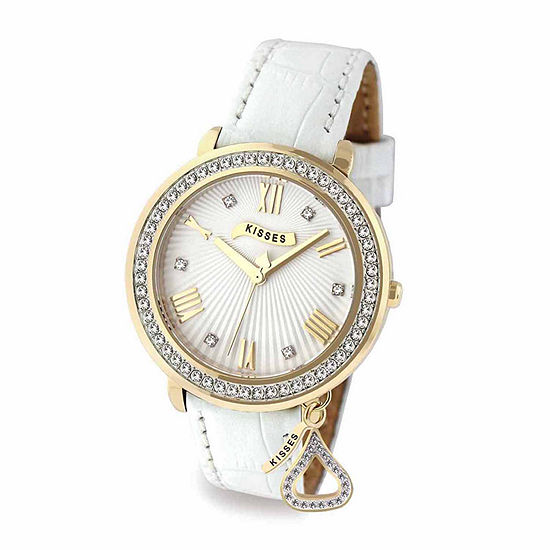 Hershey Kisses Womens White Leather Strap Watch-Ks013gdwt