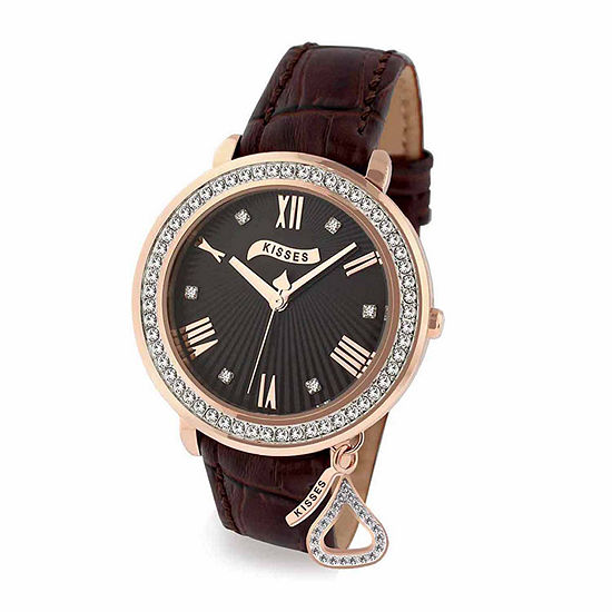 Hershey Kisses Womens Brown Leather Strap Watch-Ks013rgbn