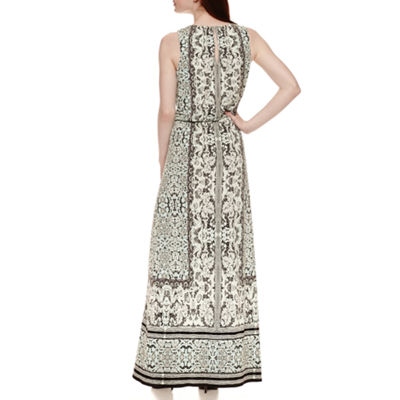 London Style Sleeveless Blouson Maxi Dress