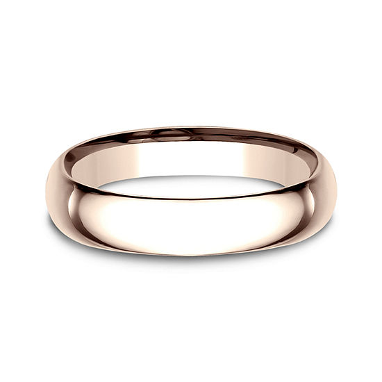 Mens 14K Rose Gold 4.5MM Low Dome Comfort-Fit Wedding Band