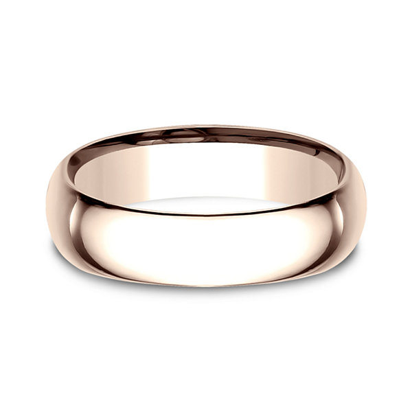 Mens 14K Rose Gold 6.5MM Low Dome Comfort-Fit Wedding Band
