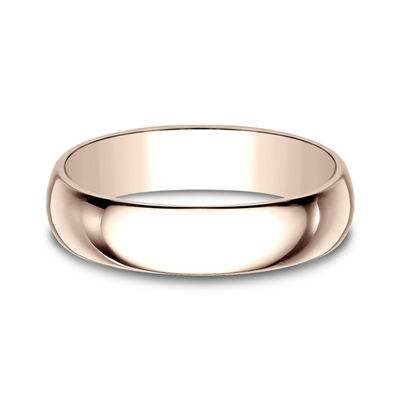 Mens 5mm 14K Rose Gold Wedding Band