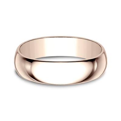 Mens 6mm 14K Rose Gold Wedding Band