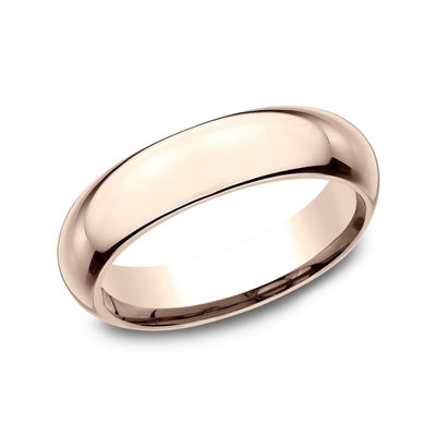 Mens 14K Rose  Gold 5MM High Dome Comfort-Fit Wedding Band