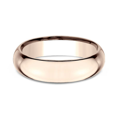Mens 14K Rose Gold 6MM High Dome Comfort-Fit Wedding Band