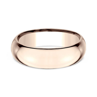Mens 14K Rose Gold 7MM High Dome Comfort-Fit Wedding Band