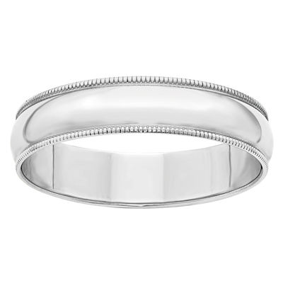Personalized Womens 14K White Gold Half Round Lightweight Wedding Band