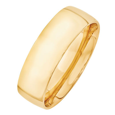 Personalized Womens 7MM 14K Gold Wedding Band
