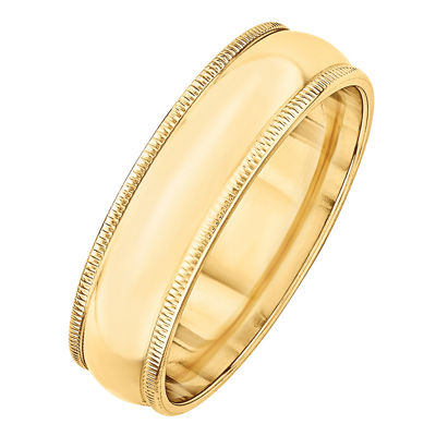 Personalized Mens 6mm 14K Gold Band